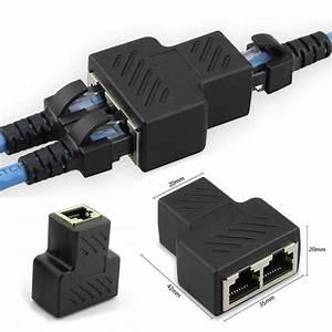 1 To 2 Lan Ethernet Network Rj45 Splitter Extender Plug