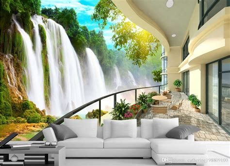 hd waterfall landscape tv wall mural  wallpaper  wall