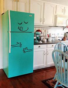 best 25 fridge makeover ideas on pinterest painted With kitchen colors with white cabinets with pac man stickers vintage