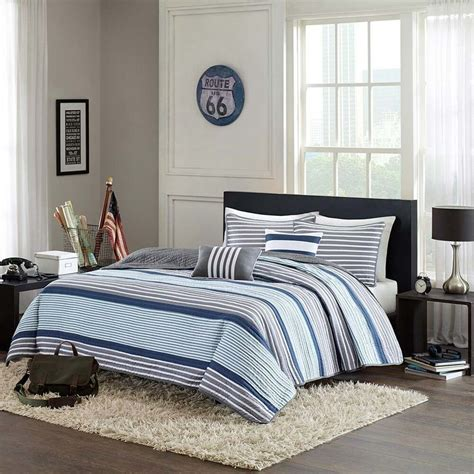 Grey Coverlet by Blue White Gray Nautical Stripe Quilt Shams