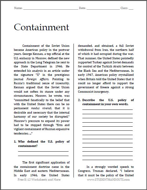containment cold war reading with questions free to