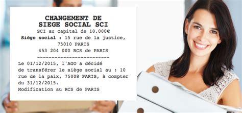 transfert de si鑒e social sci annonce légale de changement de siège social sci le légaliste