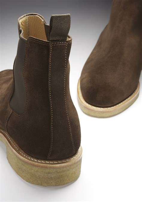 Brown Suede Chelsea Boots, Crepe Rubber Welted Sole - Hugs ...