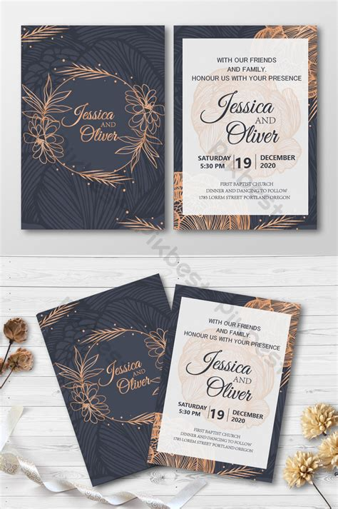 Black Gold Style Wedding Invitation Card with Flower Ring