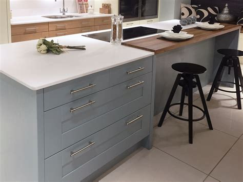 contemporary kitchen island design  painted blue