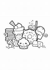 Dessert Coloring Kawaii Pages Printable sketch template