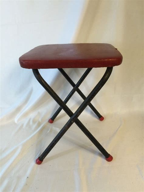 vintage  folding step foot stool side table red
