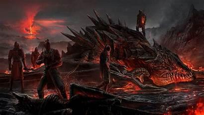 Dragon Dragons Fantasy Deviantart Volcano Sword Lava