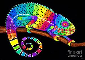 Rainbow Chameleon Painting by Nick Gustafson