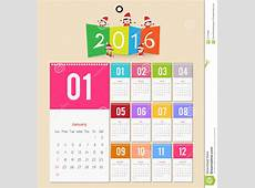 Template Design Calendar 2016 With Paper Page For Months