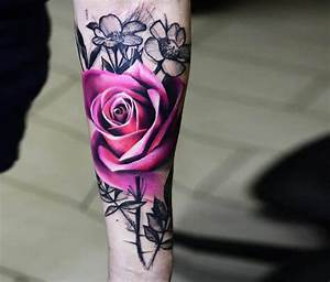 Pink rose tattoo by Timur Lysenko | No. 1492