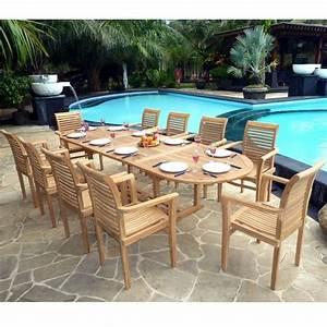 Salon Jardin Teck : ensemble teck brut de jardin table extensible et 10 ~ Melissatoandfro.com Idées de Décoration