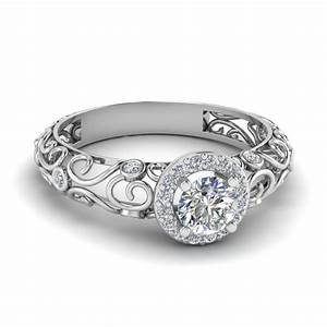 dome filigree halo diamond engagement ring in 14k white With circular wedding rings