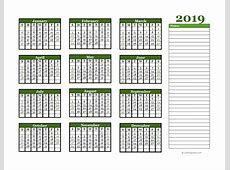 2019 Yearly Calendar With Blank Notes Free Printable