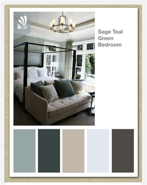 color scheme  master bedroom gray  walls teal curtains   center   light