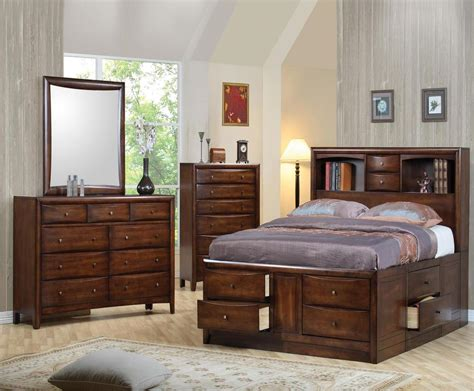 bedroom storage 5 pc california king bookcase storage bed ns dresser chest