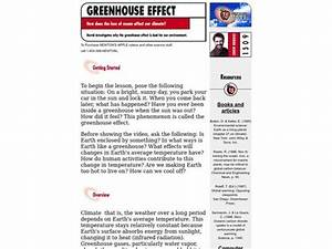 Greenhouse Effect Lesson Plan For 4th