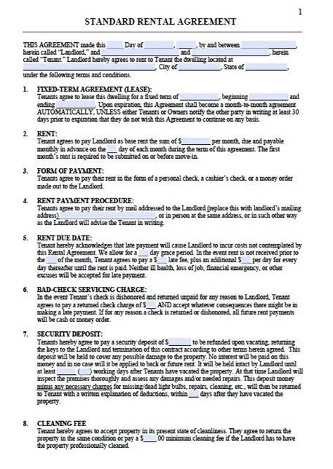 printable sample residential lease agreement template form