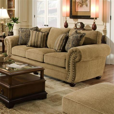 Simmons Upholstery 4277 Traditional Sofa With Rolled Arms
