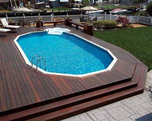 Above ground pool decks here39s a large above ground pool for Above ground swimming pool deck designs