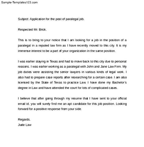 sle email cover letter for application sle