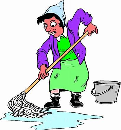 Mop Clipart Floor Mopping Cleaning Lady Cartoon