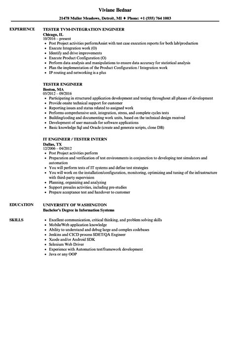 21658 comprehensive resume format sle of comprehensive resume tester engineer resume