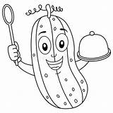 Spoon Cucumber Coloring Tray Holding Smiling Character Isolated Wooden Illustrations Vectors sketch template