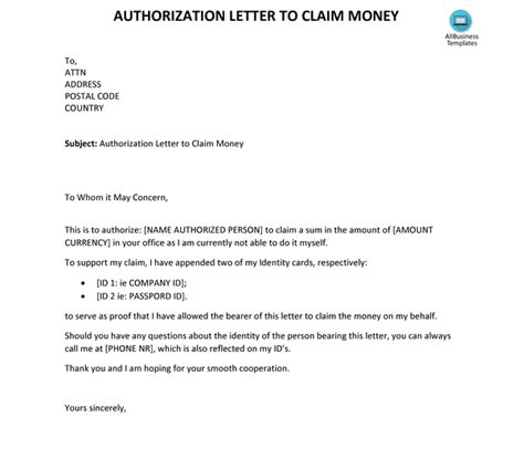 write  authorization letter  claim money quora