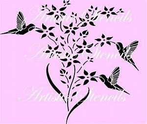 Hummingbirds and Flowers Reusable Stencil 10 X by
