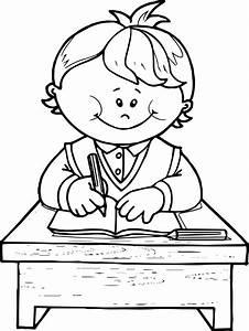 School Boy Write Coloring Page | Wecoloringpage