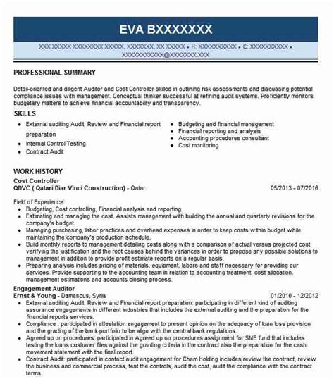 My Resume Cost by Cost Controller Resume Sle Controller Resumes