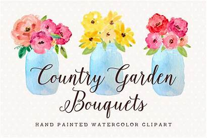 Jar Mason Flowers Watercolor Clipart Country Clip