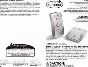 Summer Infant 02480 Baby Monitor User Manual 02480 Monitor