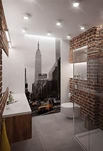 les 25 meilleures idees de la categorie salle de bains With salle de bain briquette
