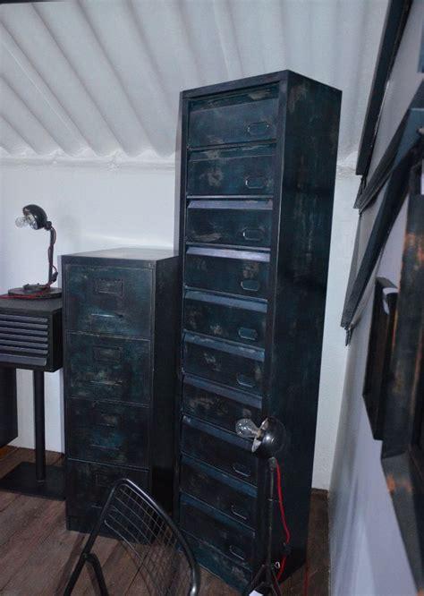 classeur metallique bureau classeur métallique 4 tiroirs meuble bleu vintage meuble