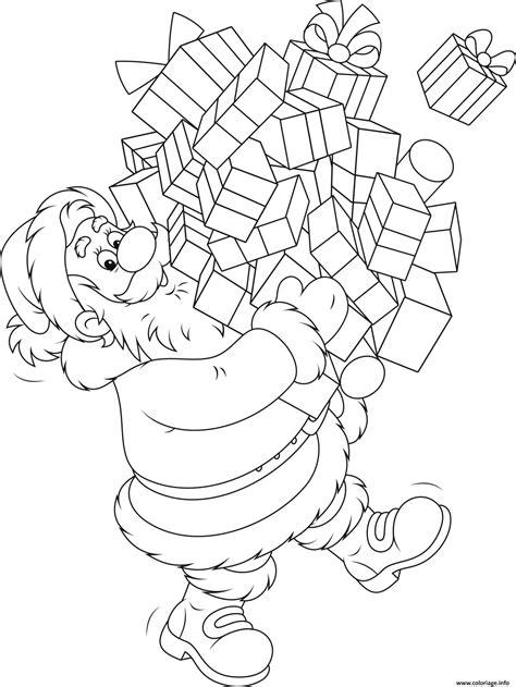 coloriage pere noel avec pleins de cadeaux de noel