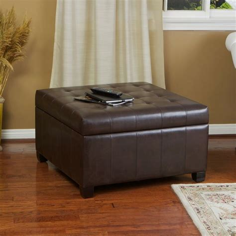 Brown Leather Ottoman by Espresso Brown Leather Storage Ottoman Coffee Table W