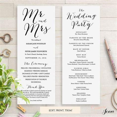 wedding programs instant template sweet bomb edit print trim diy editable