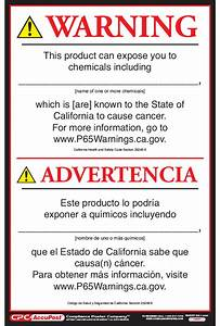 California Proposition 65 Consumer Product Warning Signs