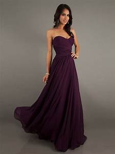 eggplant colored chiffon sweetheart floor length dress With eggplant dresses for weddings