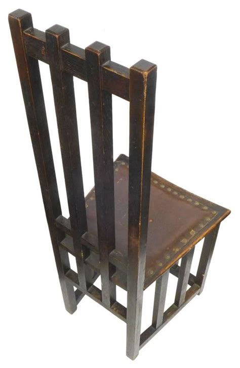 arts and crafts wood high back chair for sale at 1stdibs