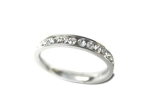 Stainless Steel Diamond Cz Eternity Wedding Band Ring