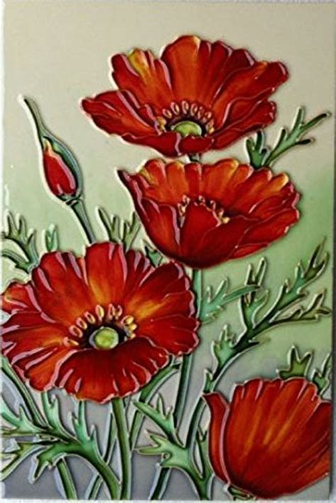 Red Poppies Ceramic Wall Art 20x30cm Plaque Tile Picture