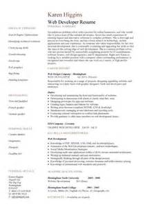 Web Developer Resume Template Doc by Web Designer Cv Sle Exle Description Career