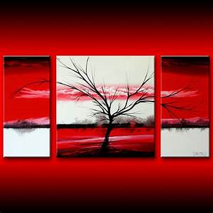 Landscape tree art on geometric red white squares