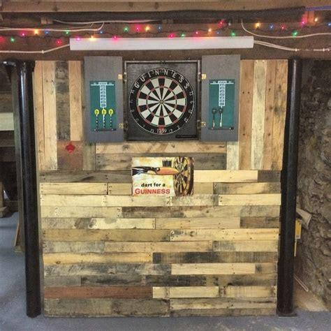 pallet wall  man cave built  dart board house