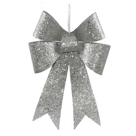 12 inch silver sequin christmas bow set of 4 m136307