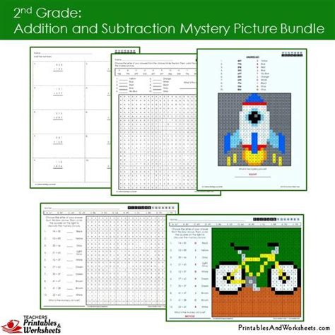 grade addition  subtraction mystery picture