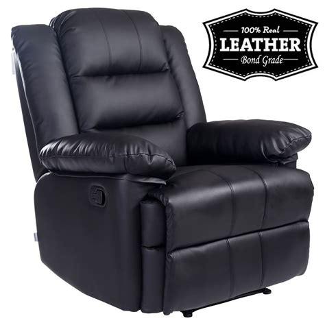 loxley black leather recliner armchair sofa home lounge
